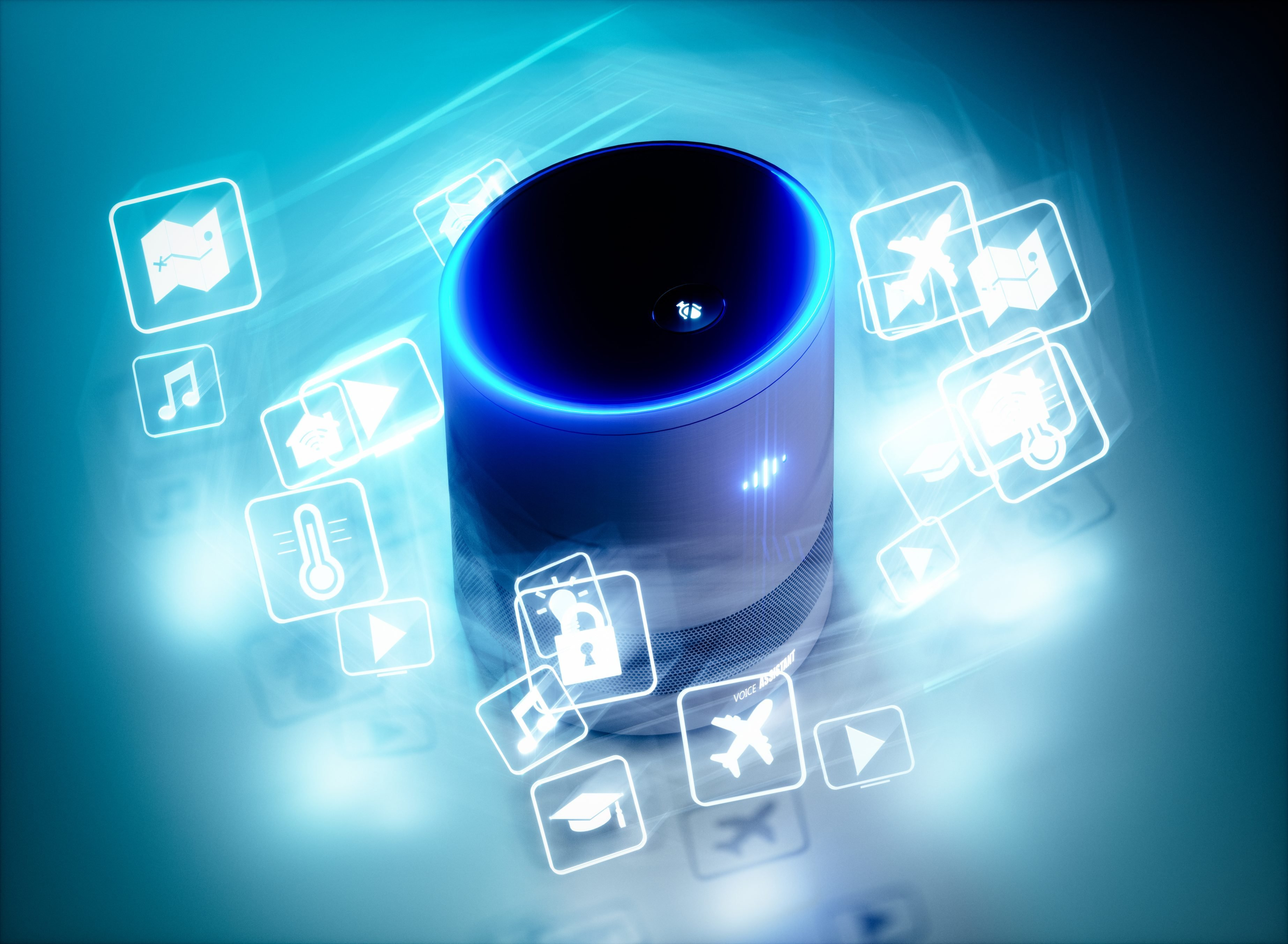 Concept of home intelligent voice activated assistant with voice command icons. 3D rendering concept of hi tech futuristic artificial intelligence speech recognition technology.