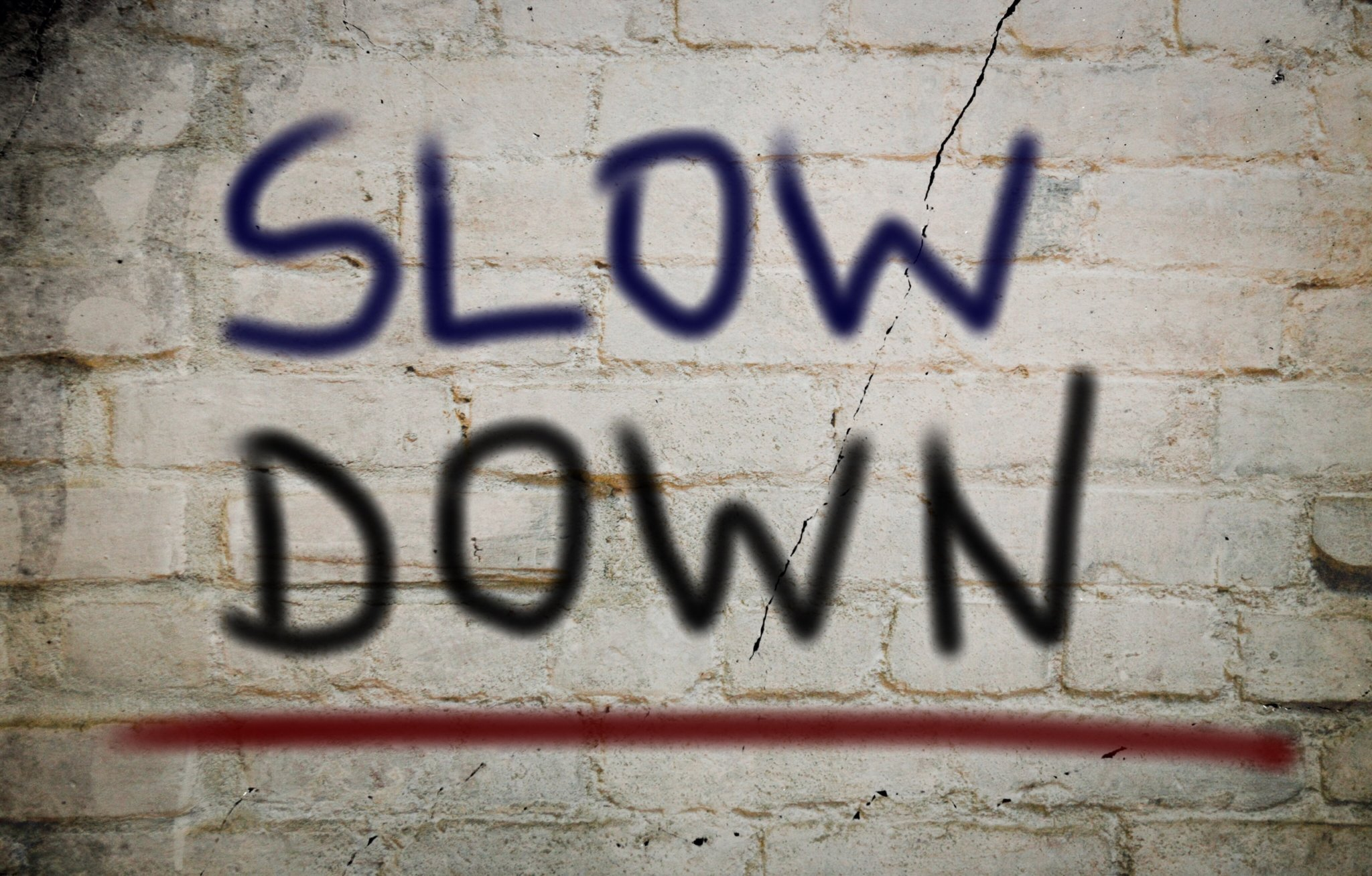 Image that says slow down